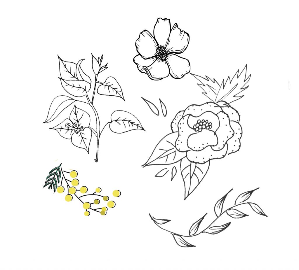 Essai à la main d'un motifs floral pour la fete des mères